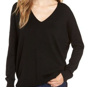 LEITH | V-Neck Pullover Sweater Black XS Cozy Fall